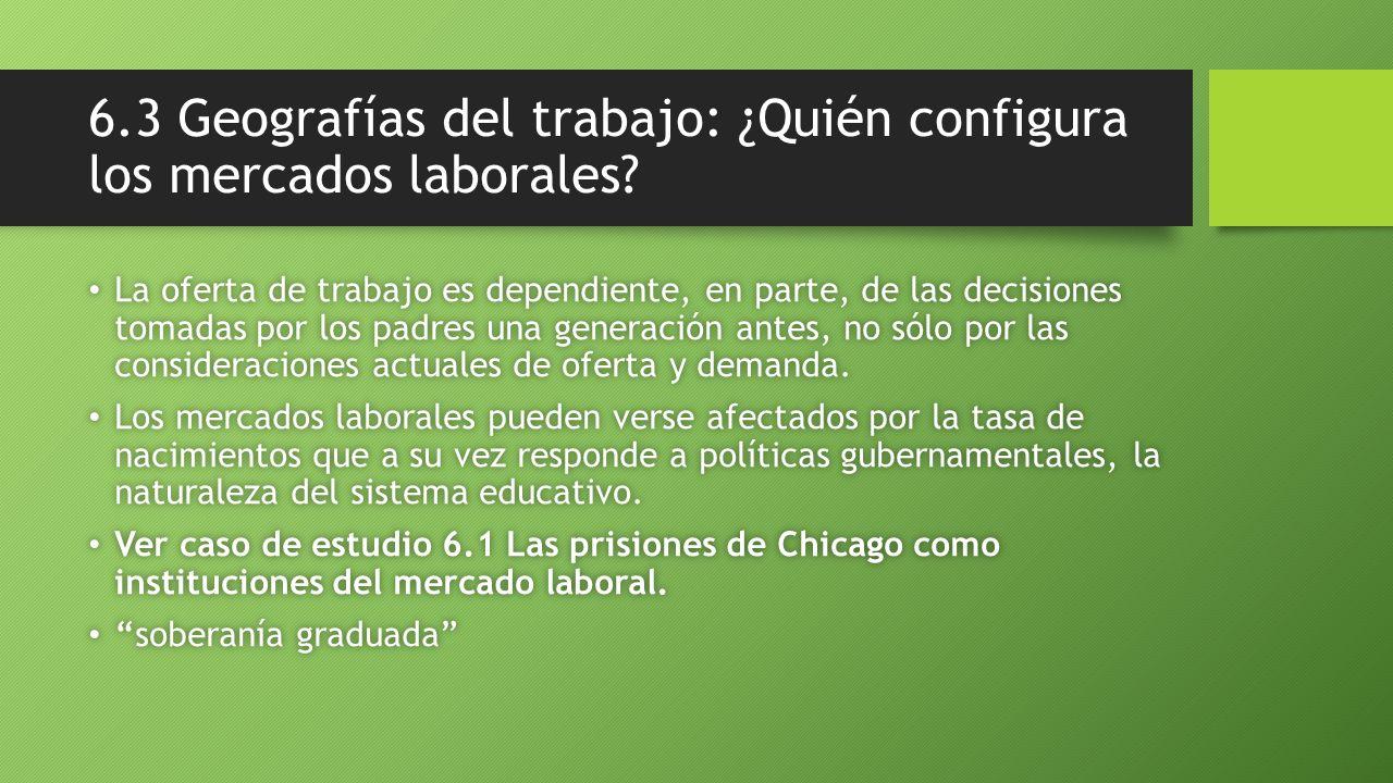 6.3 Geografías del trabajo: ¿Quién configura los mercados laborales