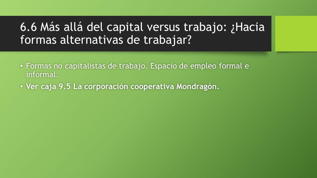 6.6 Más allá del capital versus trabajo: ¿Hacia formas alternativas de trabajar