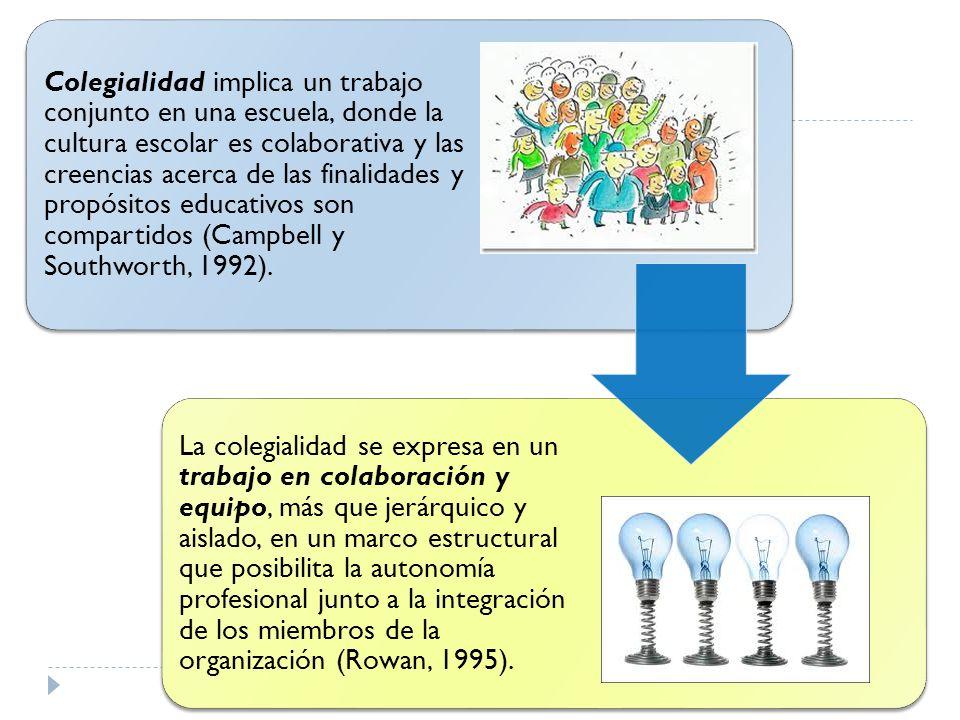 Colegialidad implica un trabajo conjunto en una escuela, donde la cultura escolar es colaborativa y las creencias acerca de las finalidades y propósitos educativos son compartidos (Campbell y Southworth, 1992).