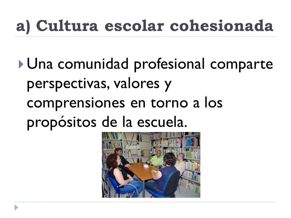a) Cultura escolar cohesionada