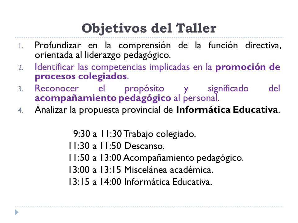 Objetivos del Taller Profundizar en la comprensión de la función directiva, orientada al liderazgo pedagógico.