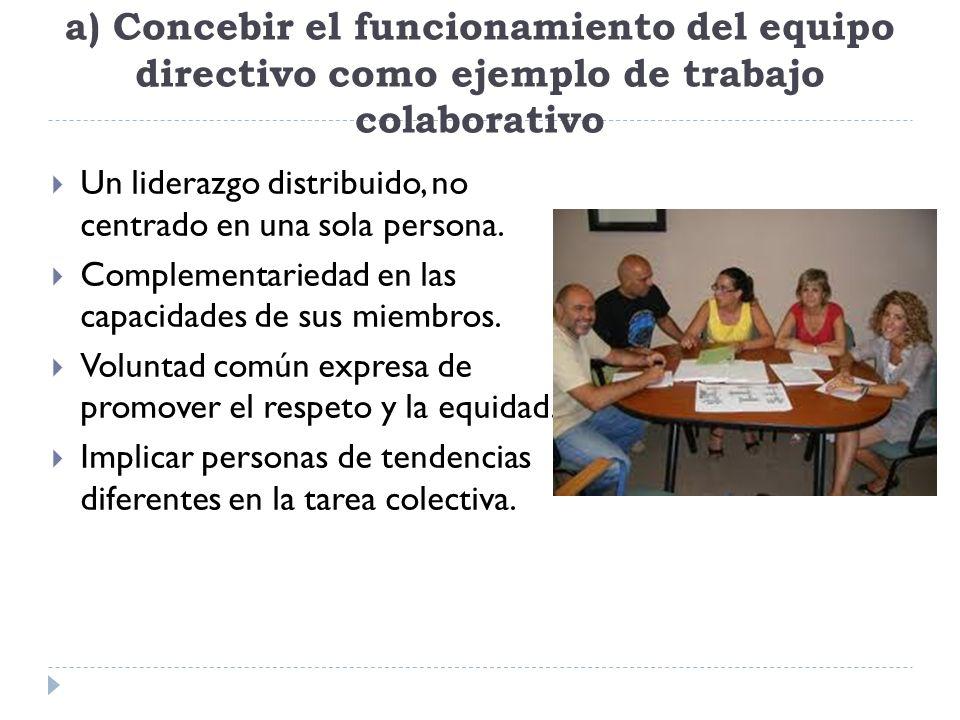 a) Concebir el funcionamiento del equipo directivo como ejemplo de trabajo colaborativo
