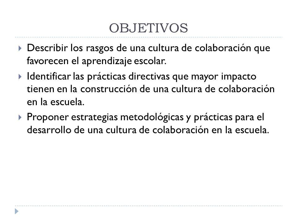 OBJETIVOS Describir los rasgos de una cultura de colaboración que favorecen el aprendizaje escolar.
