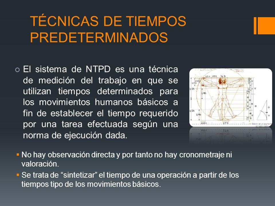 TÉCNICAS DE TIEMPOS PREDETERMINADOS