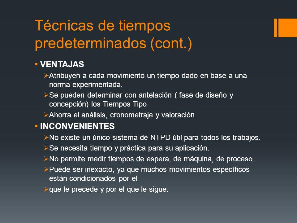 Técnicas de tiempos predeterminados (cont.)