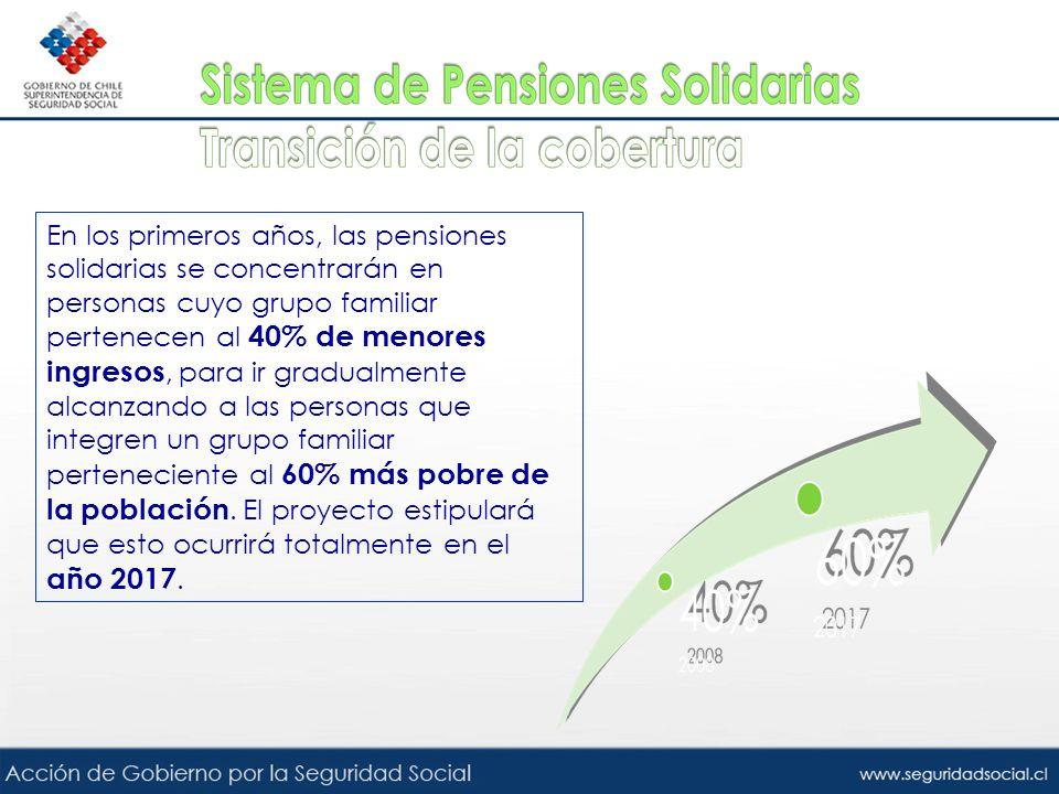 En los primeros años, las pensiones solidarias se concentrarán en personas cuyo grupo familiar pertenecen al 40% de menores ingresos, para ir gradualmente alcanzando a las personas que integren un grupo familiar perteneciente al 60% más pobre de la población.