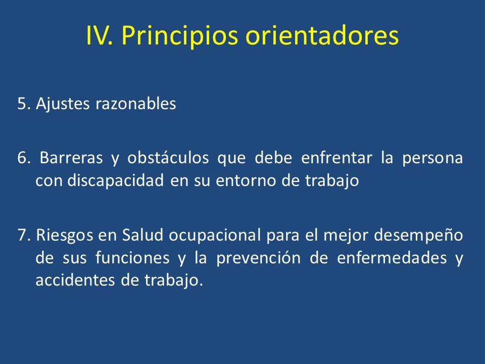 IV. Principios orientadores