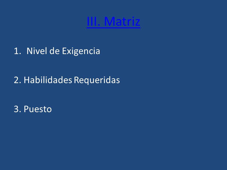 III. Matriz Nivel de Exigencia 2. Habilidades Requeridas 3. Puesto