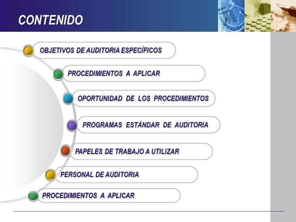CONTENIDO OBJETIVOS DE AUDITORIA ESPECÍFICOS PROCEDIMIENTOS A APLICAR