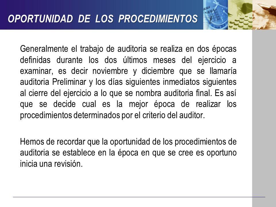 OPORTUNIDAD DE LOS PROCEDIMIENTOS