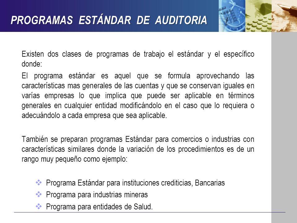 PROGRAMAS ESTÁNDAR DE AUDITORIA