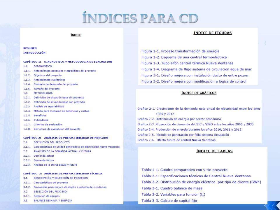 ÍNDICES PARA CD