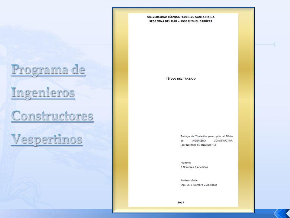 Programa de Ingenieros Constructores Vespertinos