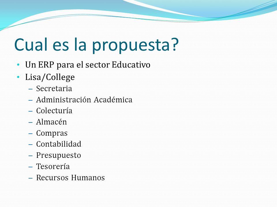 Cual es la propuesta Un ERP para el sector Educativo Lisa/College