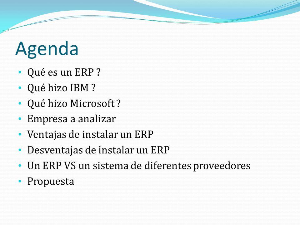 Agenda Qué es un ERP Qué hizo IBM Qué hizo Microsoft