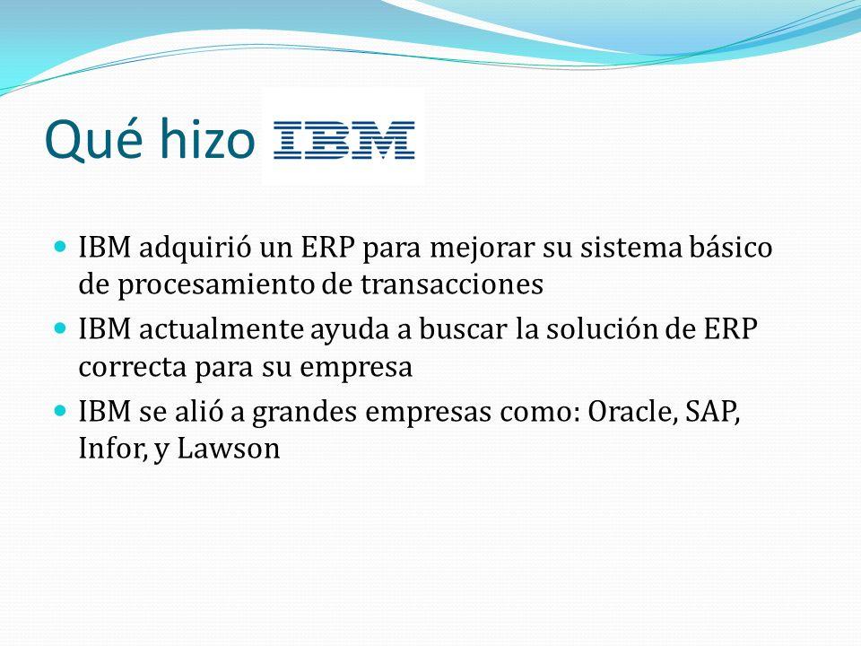 Qué hizo IBM adquirió un ERP para mejorar su sistema básico de procesamiento de transacciones.