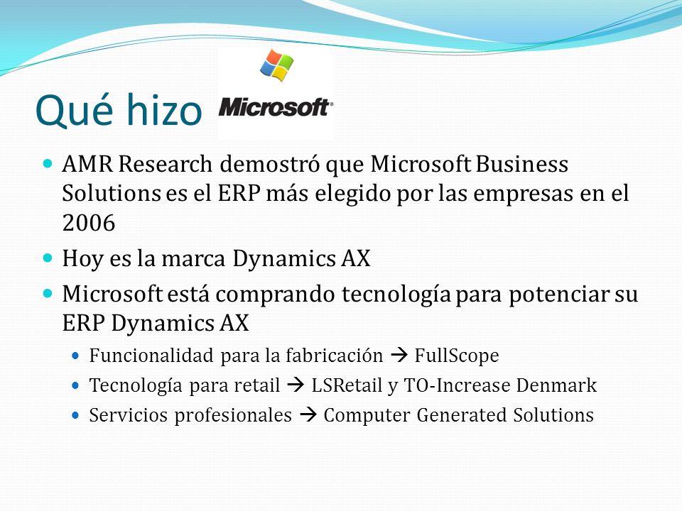 Qué hizo AMR Research demostró que Microsoft Business Solutions es el ERP más elegido por las empresas en el 2006.