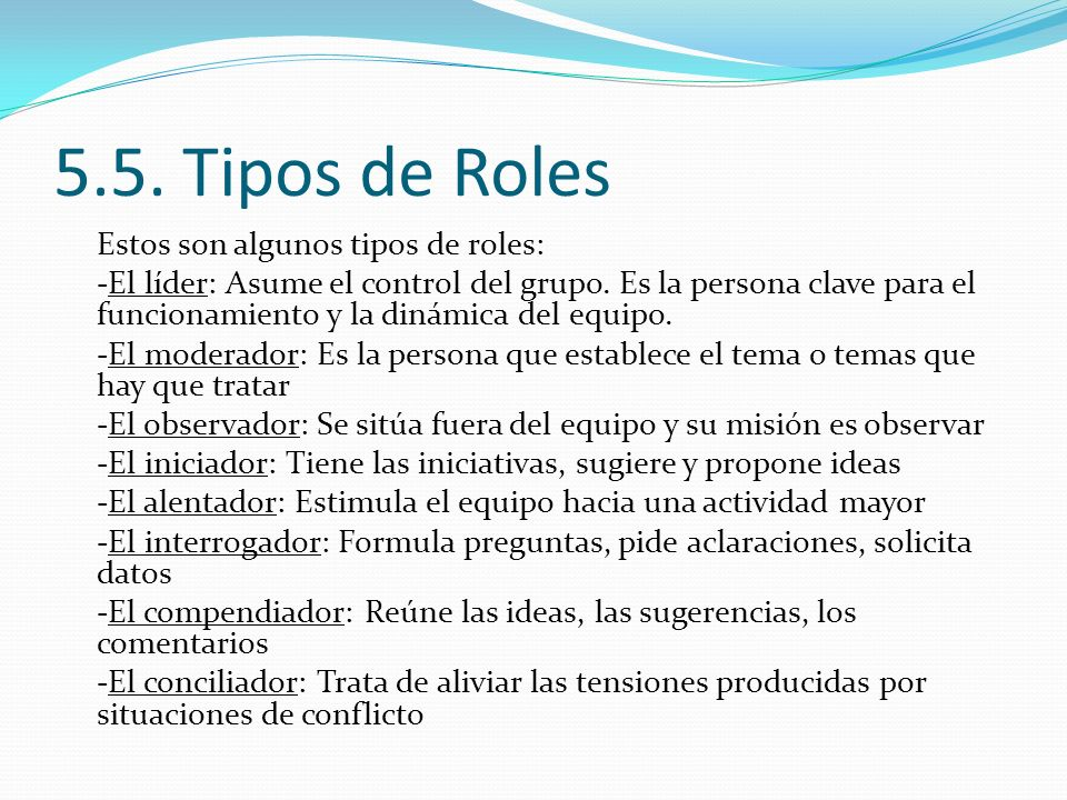 5.5. Tipos de Roles
