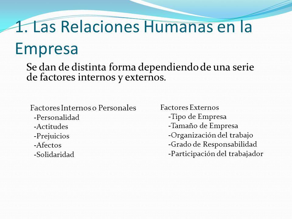 1. Las Relaciones Humanas en la Empresa