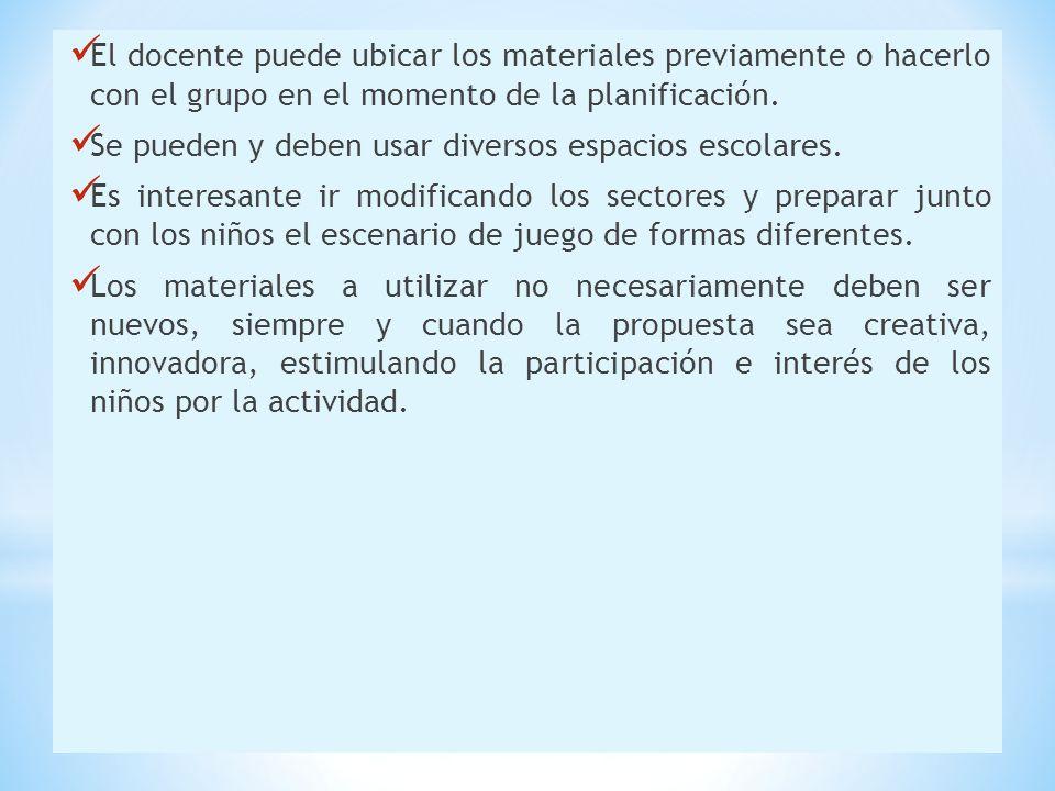El docente puede ubicar los materiales previamente o hacerlo con el grupo en el momento de la planificación.