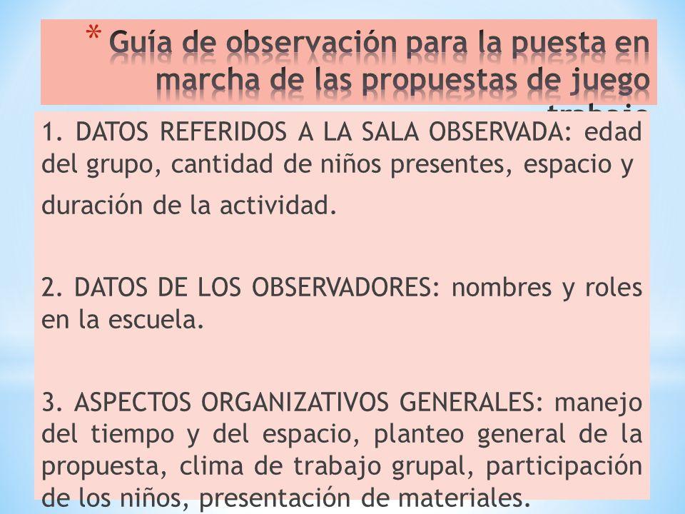 Guía de observación para la puesta en marcha de las propuestas de juego trabajo