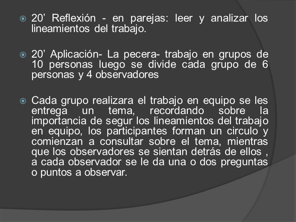 20' Reflexión - en parejas: leer y analizar los lineamientos del trabajo.