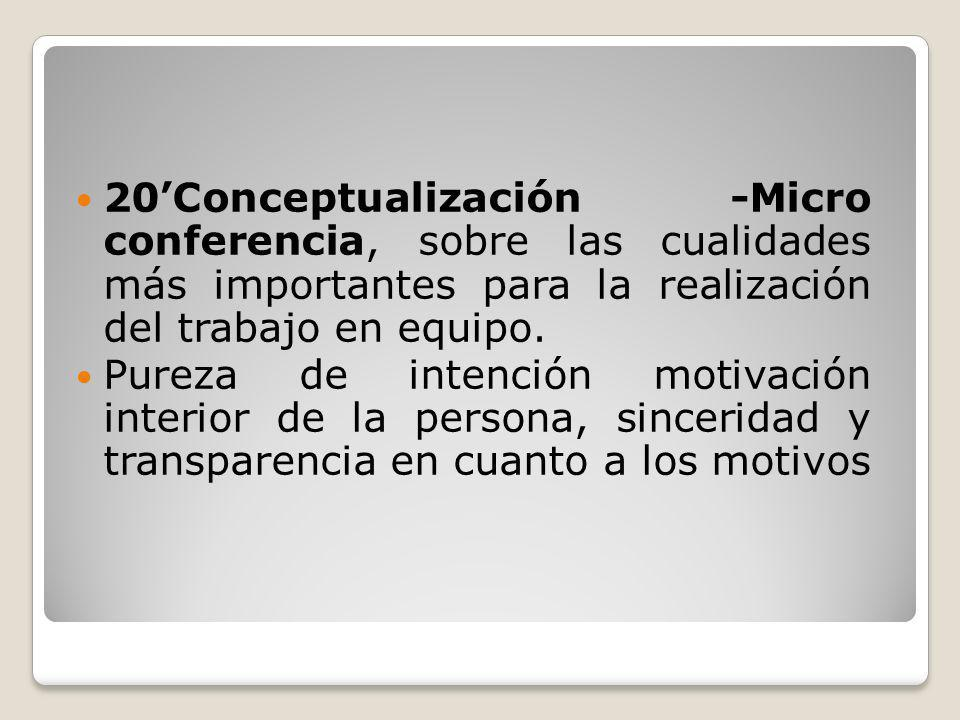 20'Conceptualización -Micro conferencia, sobre las cualidades más importantes para la realización del trabajo en equipo.