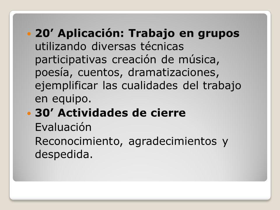 20' Aplicación: Trabajo en grupos utilizando diversas técnicas participativas creación de música, poesía, cuentos, dramatizaciones, ejemplificar las cualidades del trabajo en equipo.