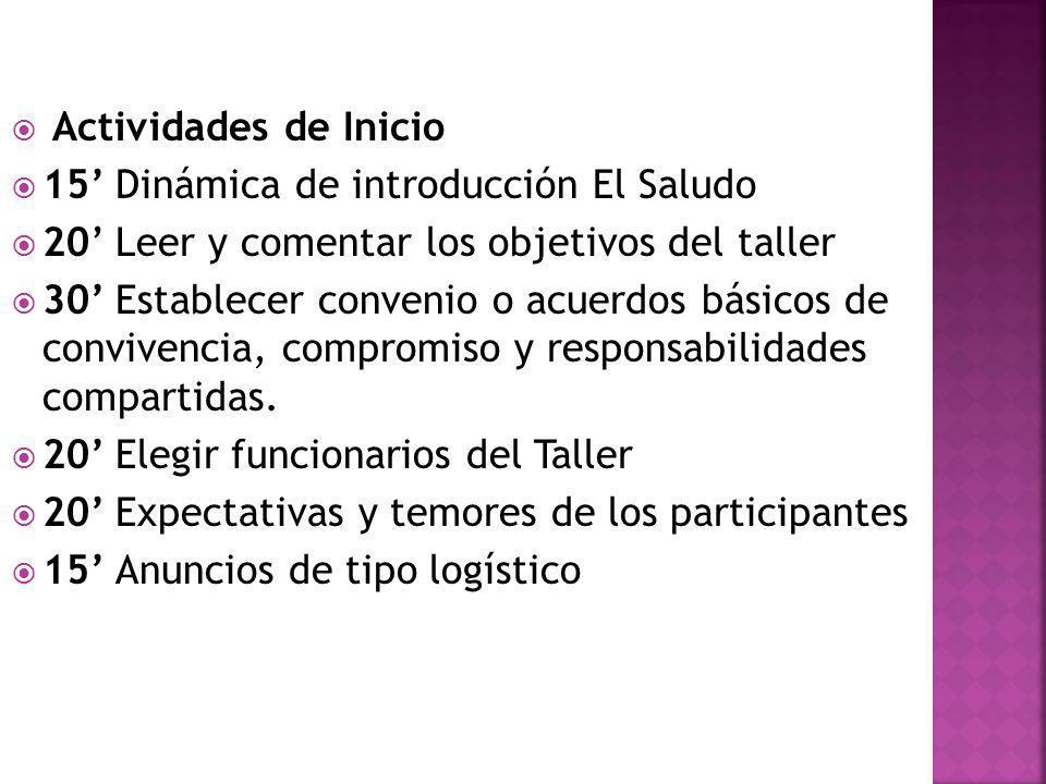 Actividades de Inicio 15' Dinámica de introducción El Saludo. 20' Leer y comentar los objetivos del taller.