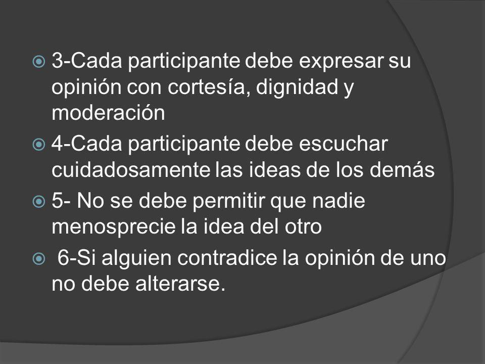 3-Cada participante debe expresar su opinión con cortesía, dignidad y moderación