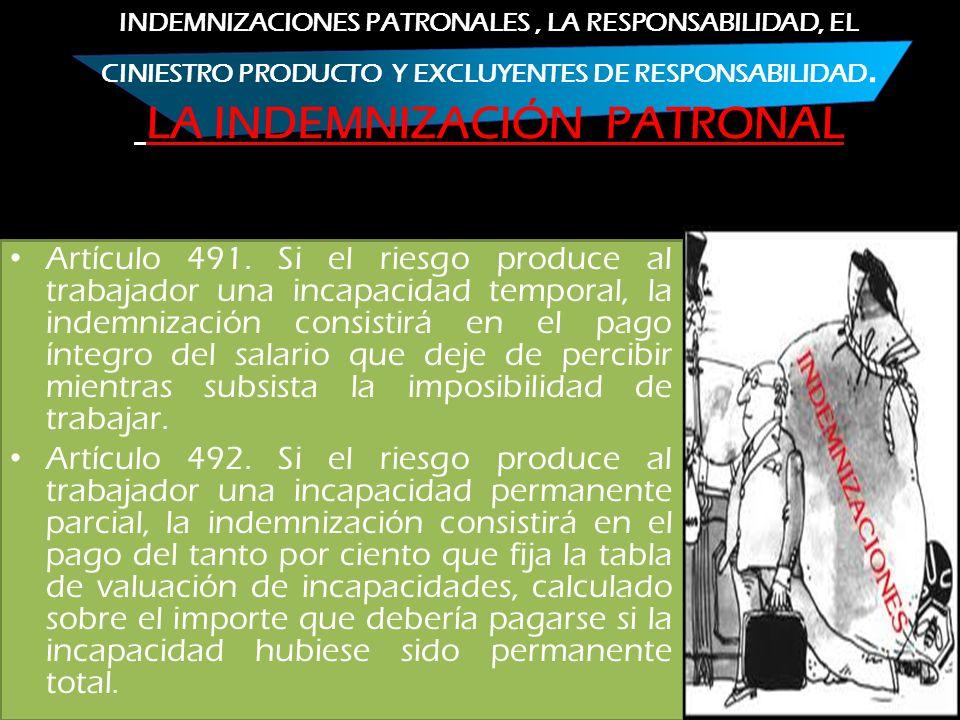 INDEMNIZACIONES PATRONALES , LA RESPONSABILIDAD, EL CINIESTRO PRODUCTO Y EXCLUYENTES DE RESPONSABILIDAD. LA INDEMNIZACIÓN PATRONAL