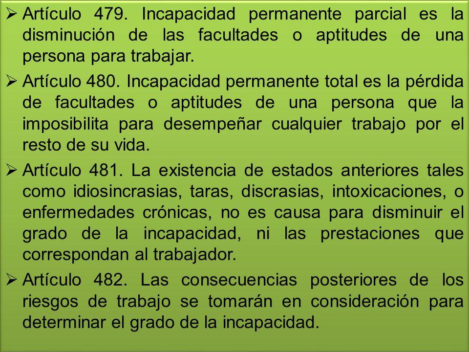 Artículo 479. Incapacidad permanente parcial es la disminución de las facultades o aptitudes de una persona para trabajar.