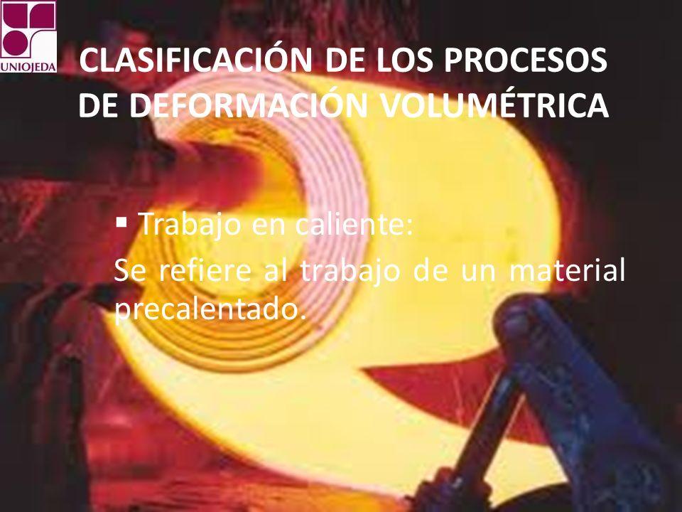 CLASIFICACIÓN DE LOS PROCESOS DE DEFORMACIÓN VOLUMÉTRICA