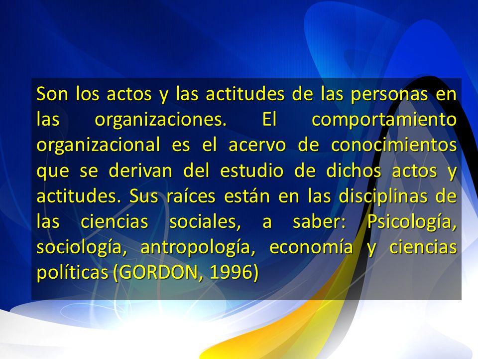 Son los actos y las actitudes de las personas en las organizaciones