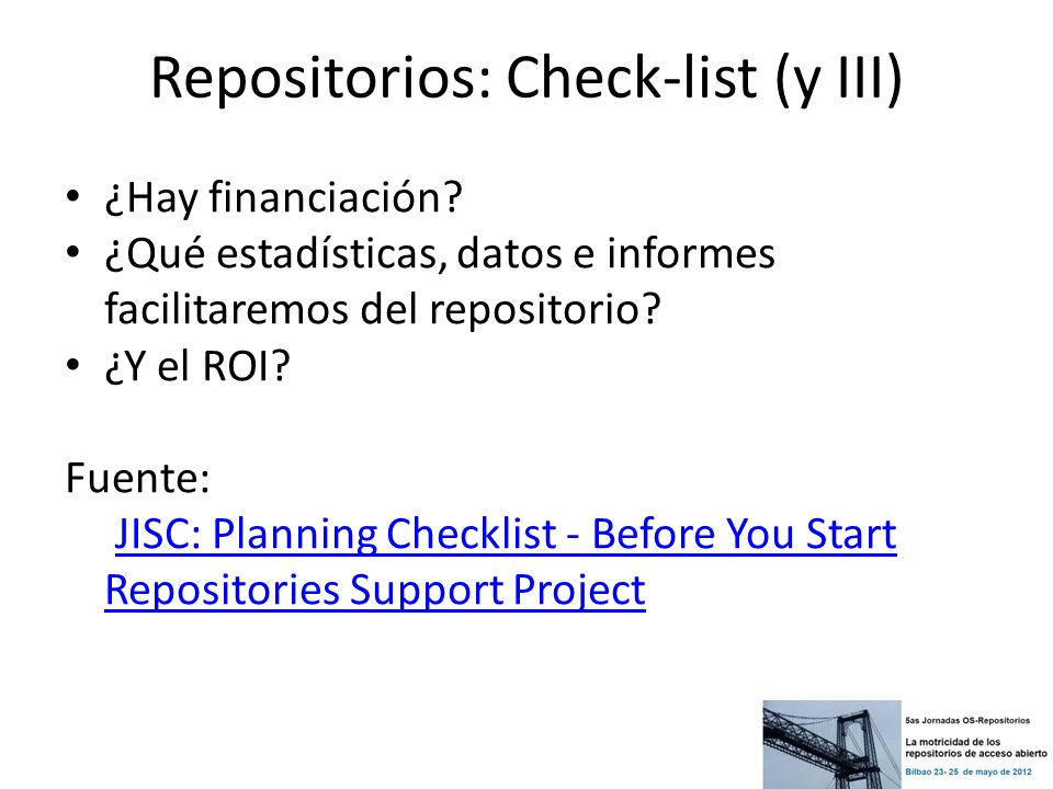 Repositorios: Check-list (y III)