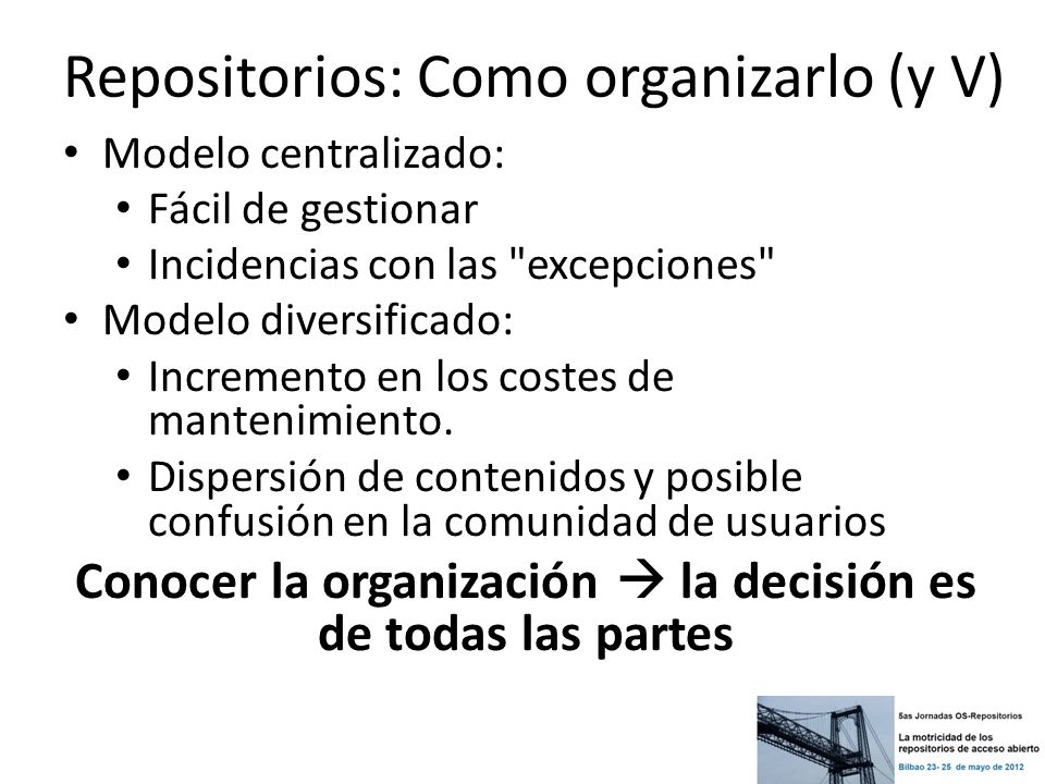 Repositorios: Como organizarlo (y V)