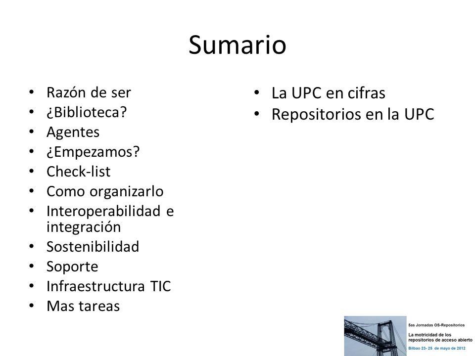 Sumario La UPC en cifras Repositorios en la UPC Razón de ser
