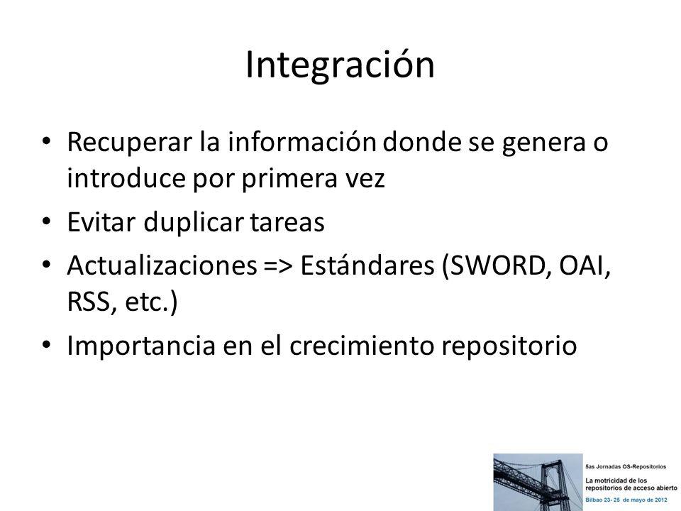 Integración Recuperar la información donde se genera o introduce por primera vez. Evitar duplicar tareas.