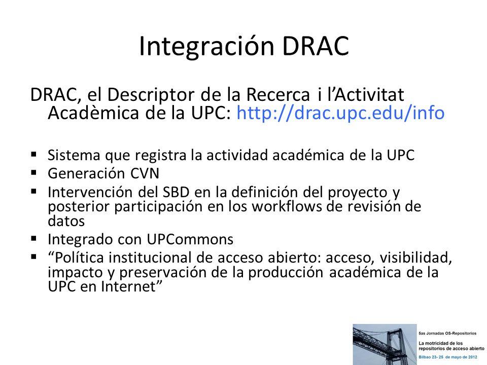 Integración DRAC DRAC, el Descriptor de la Recerca i l'Activitat Acadèmica de la UPC: http://drac.upc.edu/info.