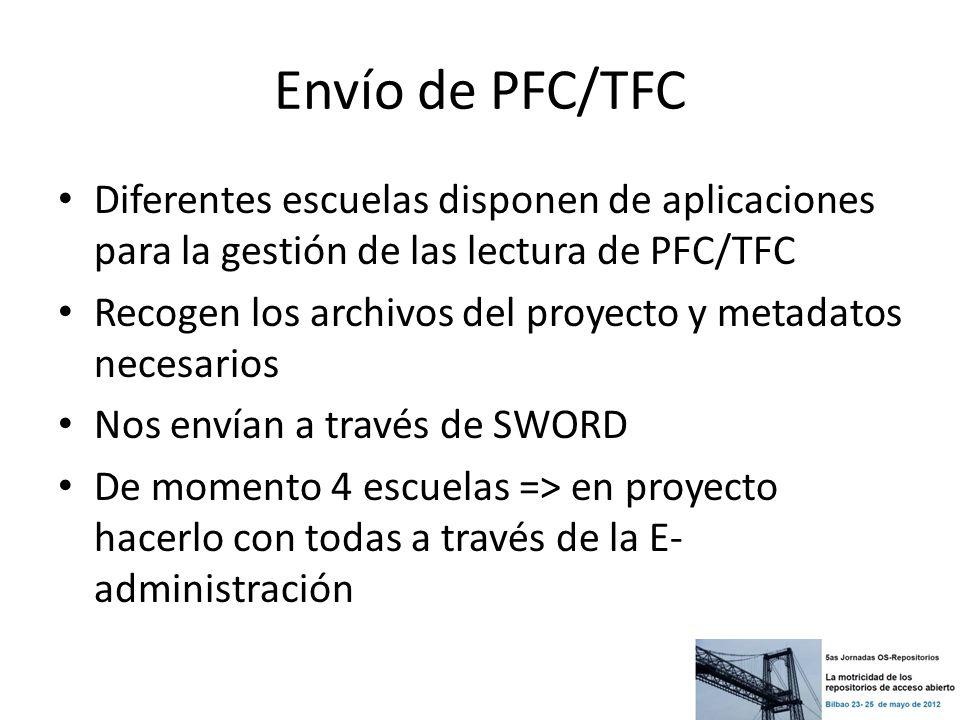Envío de PFC/TFC Diferentes escuelas disponen de aplicaciones para la gestión de las lectura de PFC/TFC.