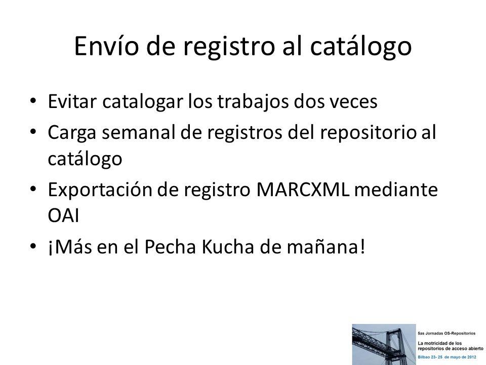 Envío de registro al catálogo