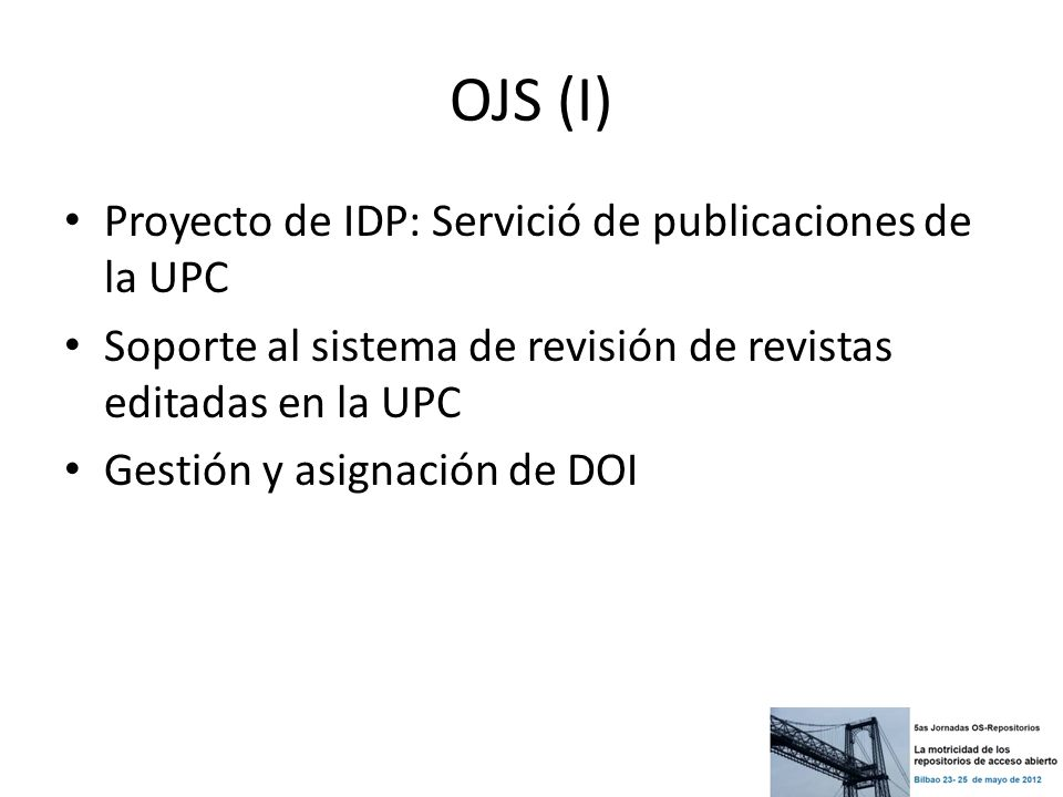 OJS (I) Proyecto de IDP: Servició de publicaciones de la UPC