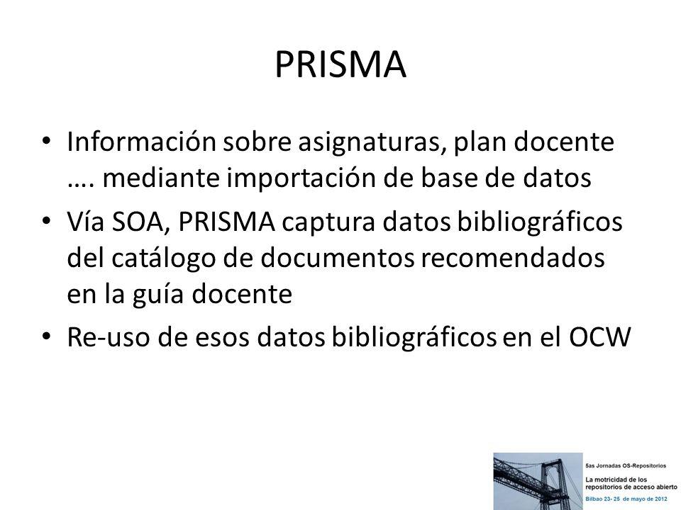 PRISMA Información sobre asignaturas, plan docente …. mediante importación de base de datos.