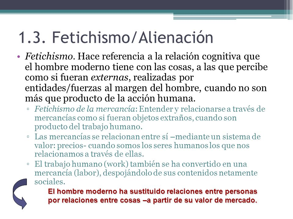 1.3. Fetichismo/Alienación