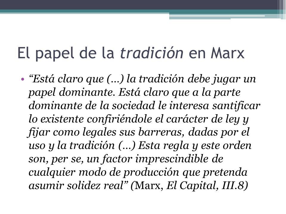 El papel de la tradición en Marx