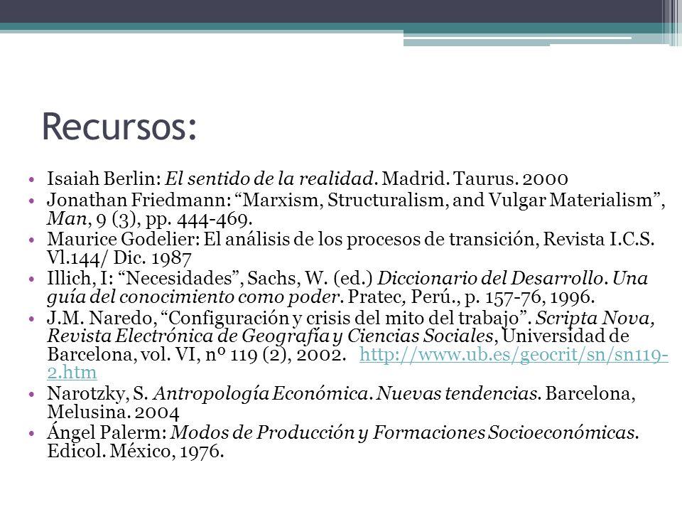 Recursos: Isaiah Berlin: El sentido de la realidad. Madrid. Taurus. 2000.