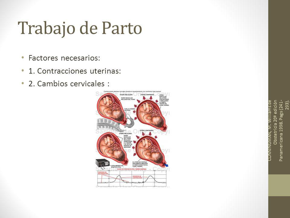Trabajo de Parto Factores necesarios: 1. Contracciones uterinas: