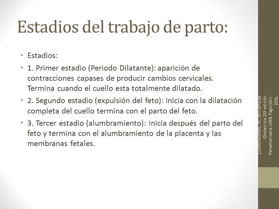Estadios del trabajo de parto: