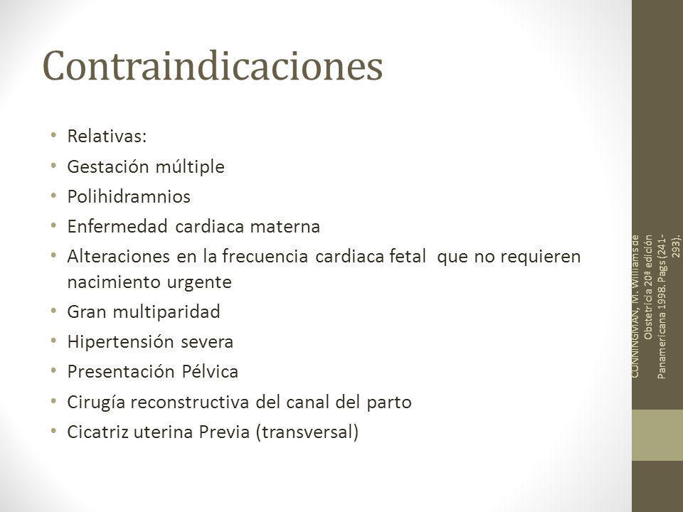 Contraindicaciones Relativas: Gestación múltiple Polihidramnios