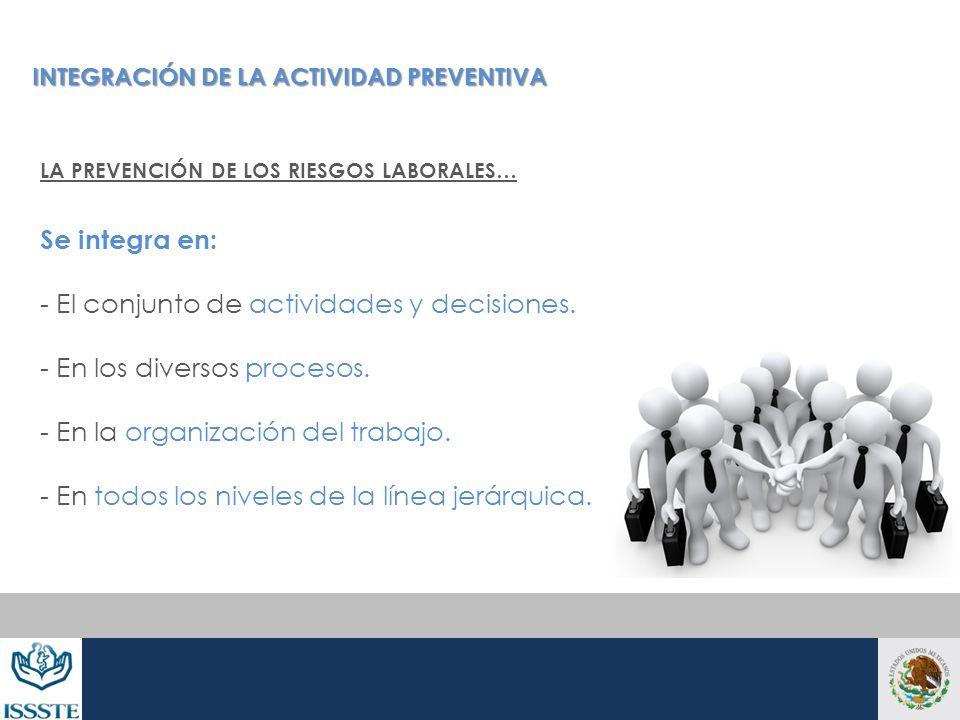 - El conjunto de actividades y decisiones. - En los diversos procesos.